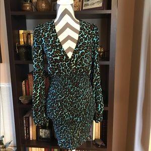 AFRM XS Stretch Dress Aqua, Black, Brown NWT